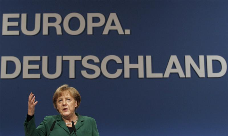 German Chancellor Merkel gives her closing speech at end of the CDU party convention in Leipzig