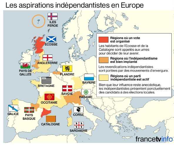 carte indépendantistes europe