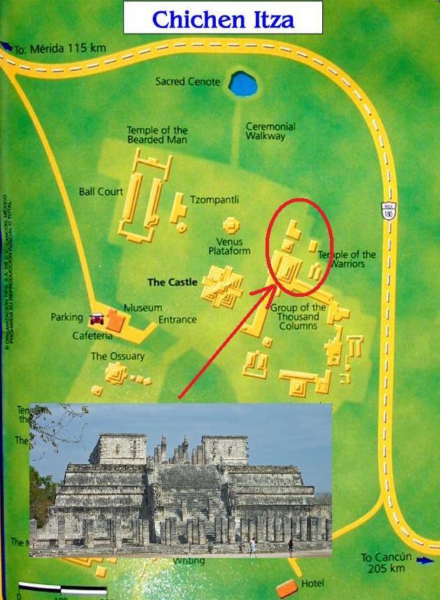Chichen Itza - Plan temple guerriers