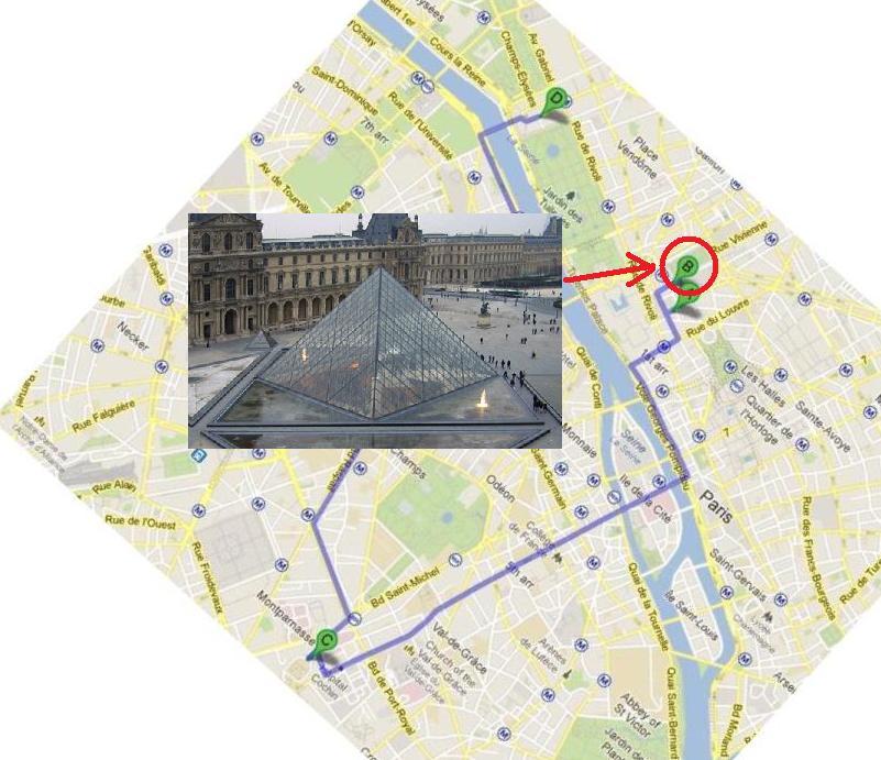 Plan de Paris - Pyramide du Louvre