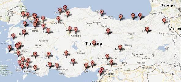 Carte manifestation Turquie