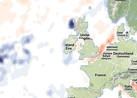 Anomalie thermique en Mer du Nord.