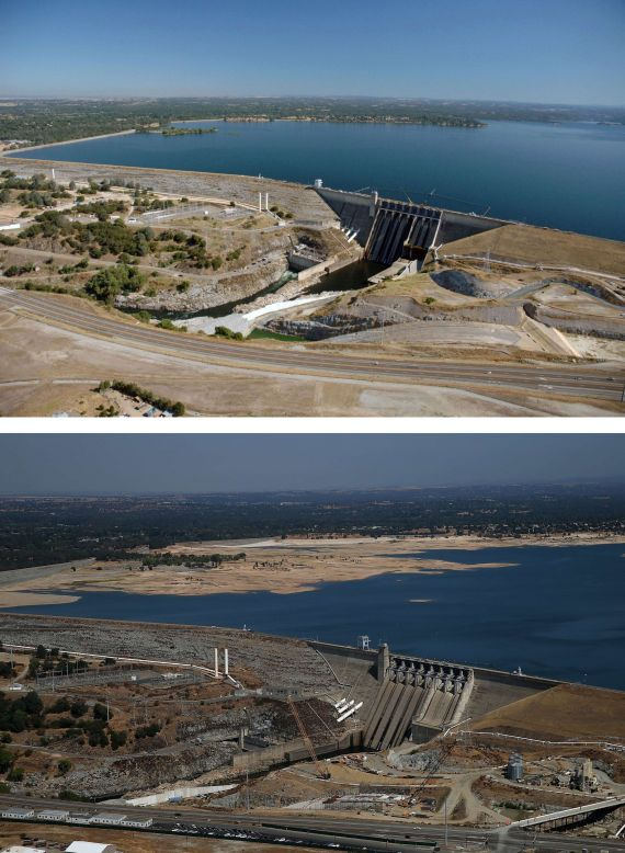 Before And After: Statewide Drought Takes Toll On California's Lake Oroville Water Level