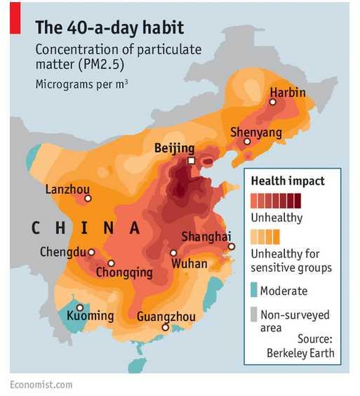 Carte pollution Beijing