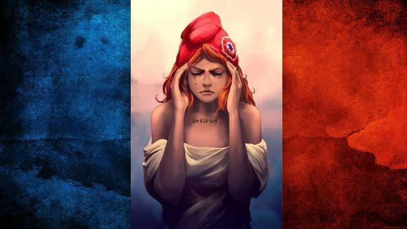 France mariane pleurs