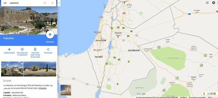 Palestine sur Google map