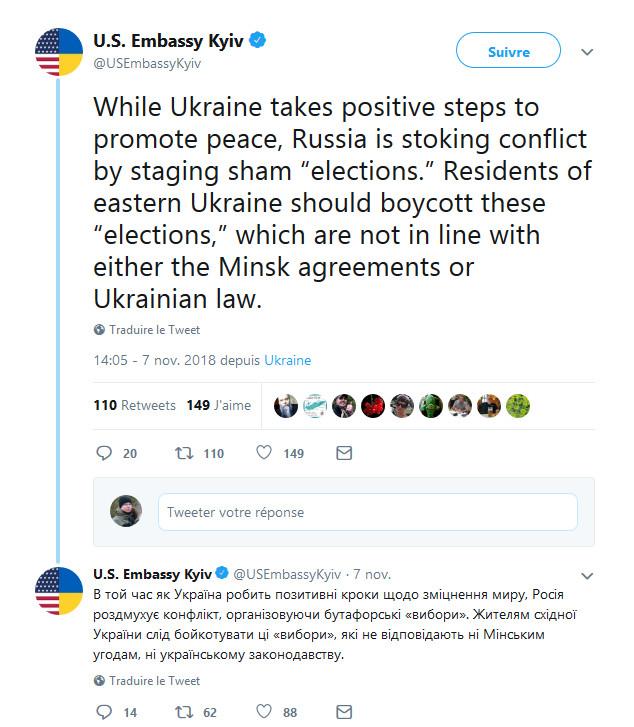 Tweet ambassade américaine à Kiev